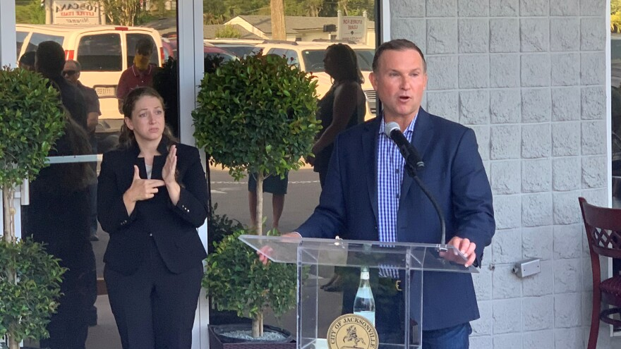 Mayor Lenny Curry held his first in-person press conference since March on Monday.