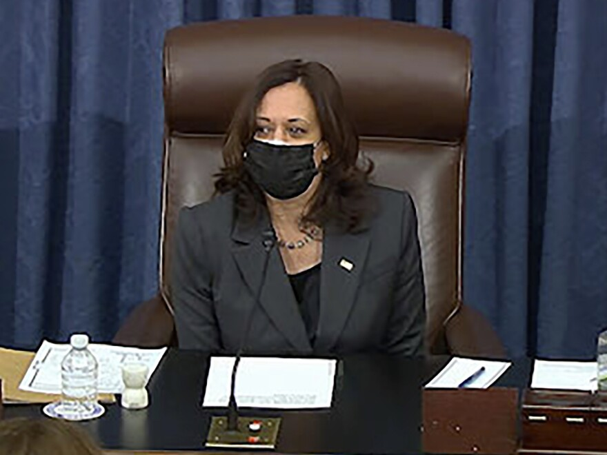 During the marathon Senate session on Thursday into Friday, Vice President Harris had to cast her first tiebreaking vote in the divided Senate.