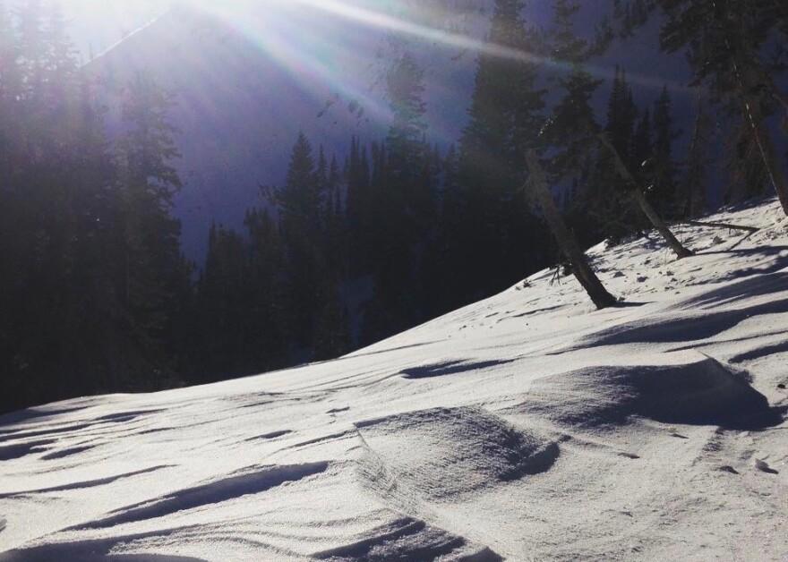 Photo of snowy mountain scene