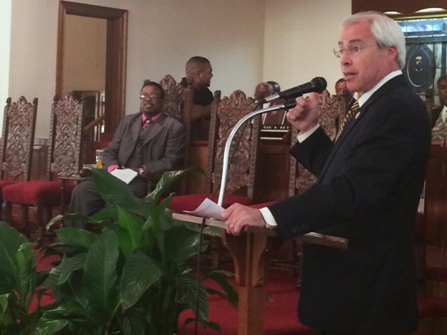 Rep. John Barrow speaks at First African Baptist Church in Dublin, Ga. Barrow needs African-Americans to turn out on Election Day, but they're not enough to put him over the top.