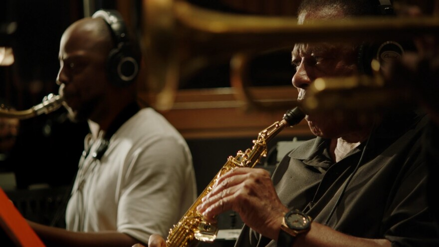 Marcus Strickland, left, and Wayne Shorter, as seen in the documentary <em>Blue Note Records: Beyond the Notes</em>.