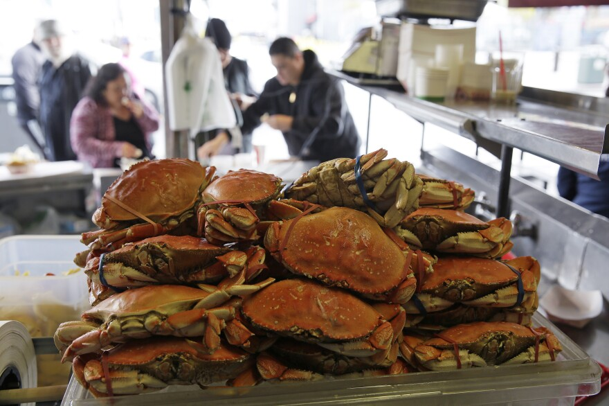 Dungeness crabs for sale at Fisherman's Wharf in San Francisco. California's Dungeness crab season was shut down in 2015, when record high ocean temperatures and lingering toxic algae blooms raised the domoic acid in shellfish to unsafe levels. A new study links dangerously high levels of the neurotoxin to warmer ocean temperatures, suggesting such closures could become more common in the future.
