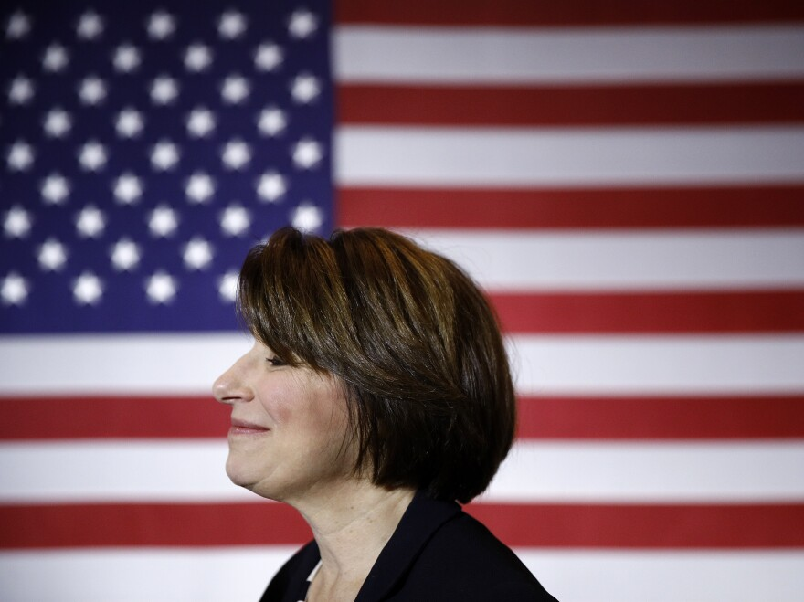 Sen. Amy Klobuchar, D-Minn., at a campaign event in Cedar Rapids, Iowa. She has ended her presidential bid.
