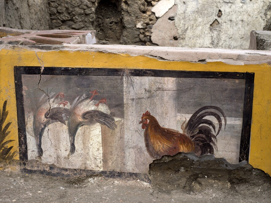 A painting adorns a counter of a thermopolium, depicting two upside-down mallard ducks and a rooster.