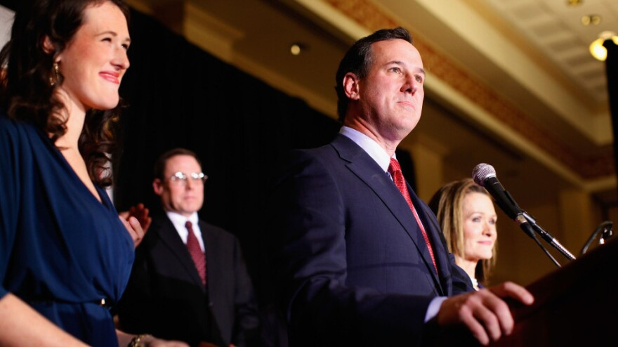 Former U.S. Sen. Rick Santorum speaks to supporters on Tuesday at the St. Charles Convention Center in St. Charles, Mo.