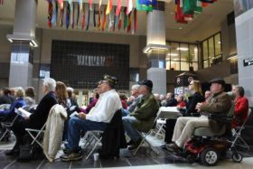 Veterans and their supporters attend an Armistice Centennial celebration at Arkansas State University on Veterans Day.