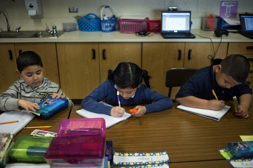 Buchanan Elementary School third-graders work on their spelling.