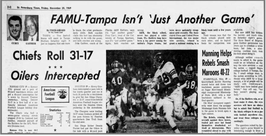 St. Petersburg Times headline about Nov. 29, 1969 football game