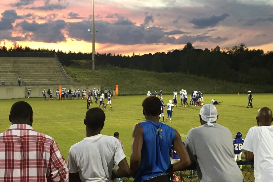 The local middle school plays its annual homecoming football game at Wilcox Central High in Camden, Alabama.