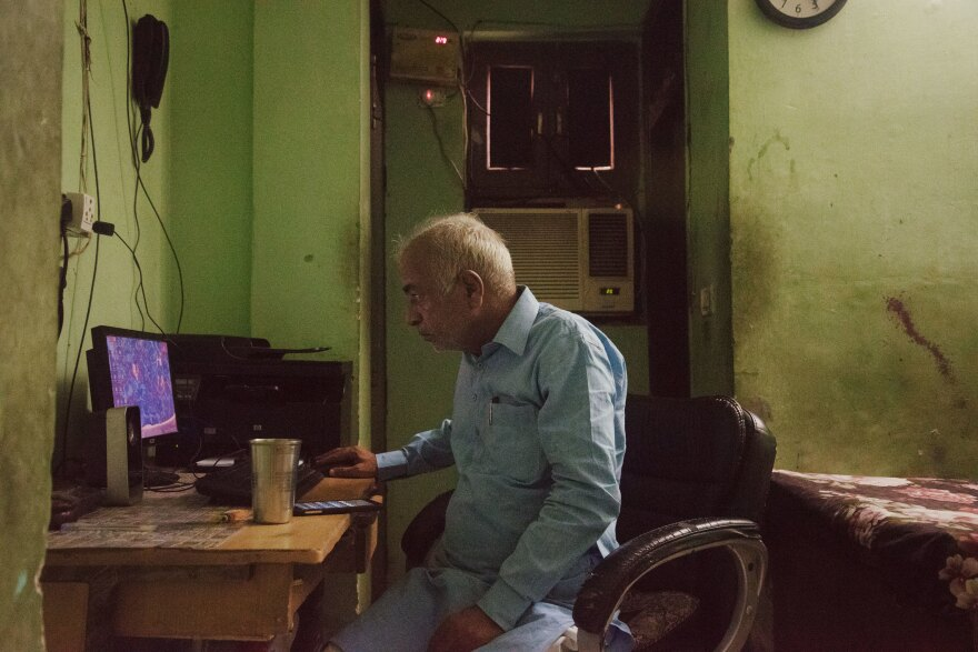 Sanjoy Sachdev, founder of the Love Commandos, at his office inside one of the group's safe houses in New Delhi. His group helps rescue interfaith and inter-caste couples from potential violence, offers them temporary shelter, and helps them do paperwork for marriage certificates and police restraining orders, if necessary.