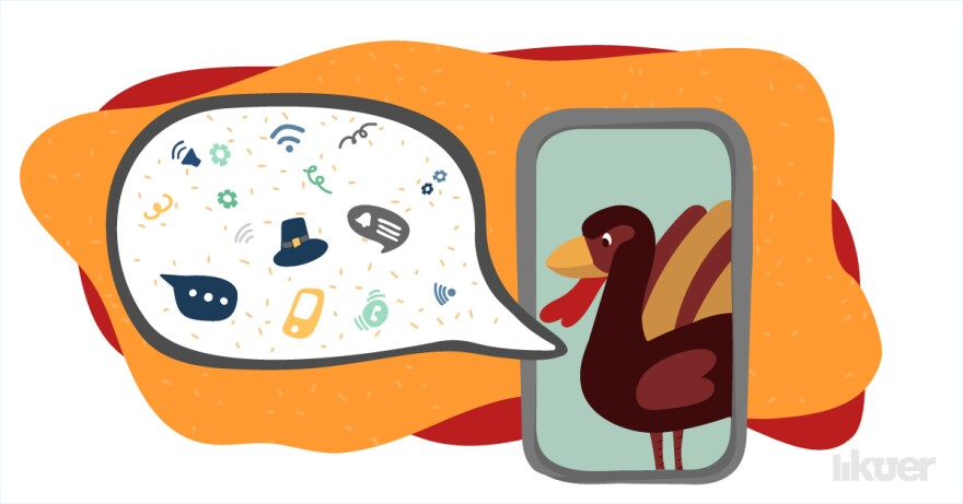 An illustration of a turkey in a smart phone with a speech bubble extending from the left.