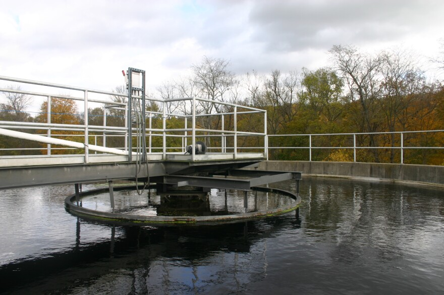A filtration pool at the Yellow Springs Wastewater Treatment Plant on Grinnell Road.