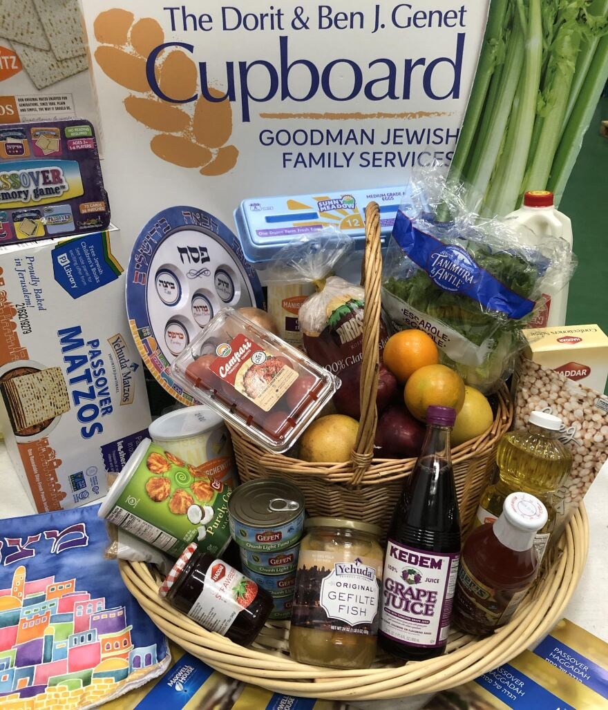 Seder meal baskets for families struggling to afford food during Passover this week.
