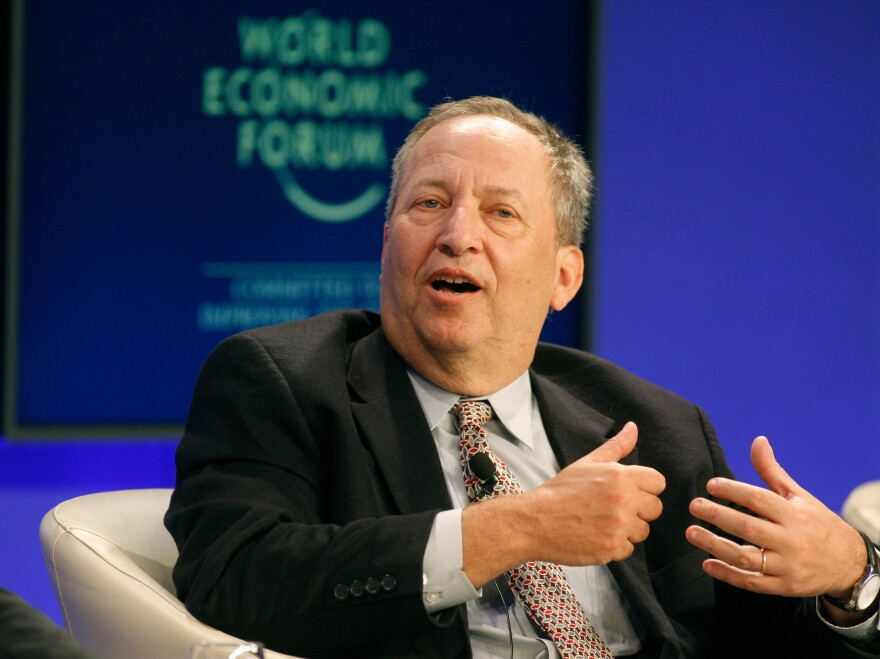 Former Treasury Secretary Larry Summers speaks during a session at the World Economic Forum in Davos, Switzerland, in 2011.