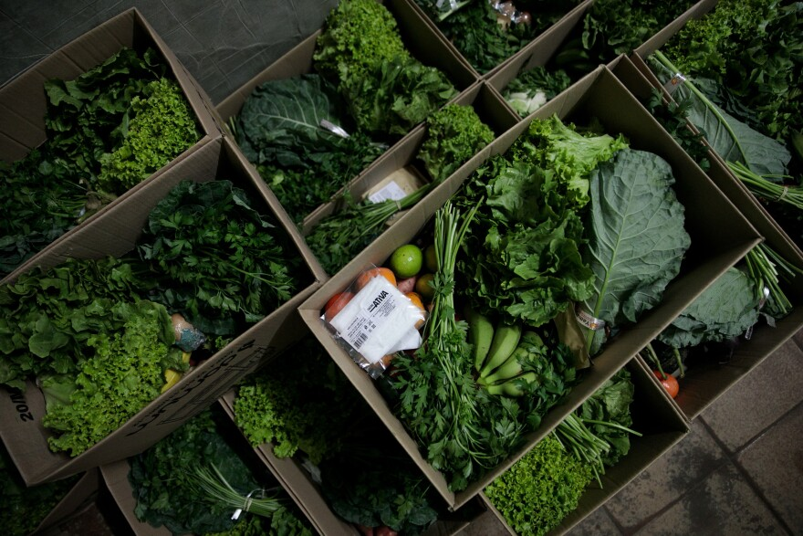 The boxes of food contain a variety of foods — lettuce, parsley, escarole, cabbage, pumpkins, sweet potatoes, beets, lemons, eggplants, peppers, cucumbers, bananas, persimmons, eggs and coffee — along with face masks.