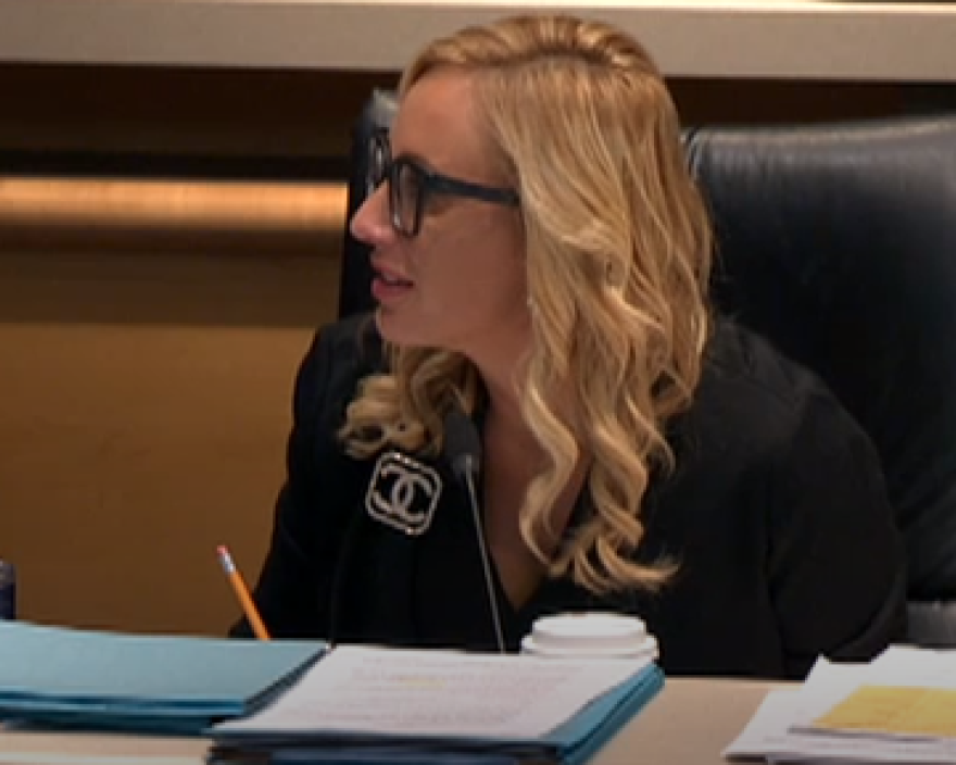 Lauren Book is a woman with black glasses and blonde hair. She sits at a desk and looks off to the left while speaking to the committee.