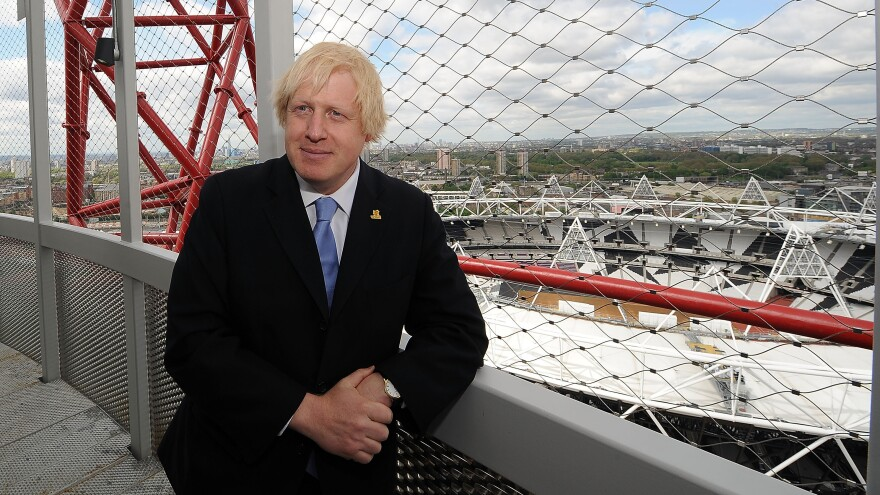 London Mayor Boris Johnson stands atop the ArcelorMittal Orbit, an observation tower in London's Olympic Park, at its unveiling on May 11. Johnson is the author of <em>Johnson's Life of London: The People Who Made the City That Made the World</em>.