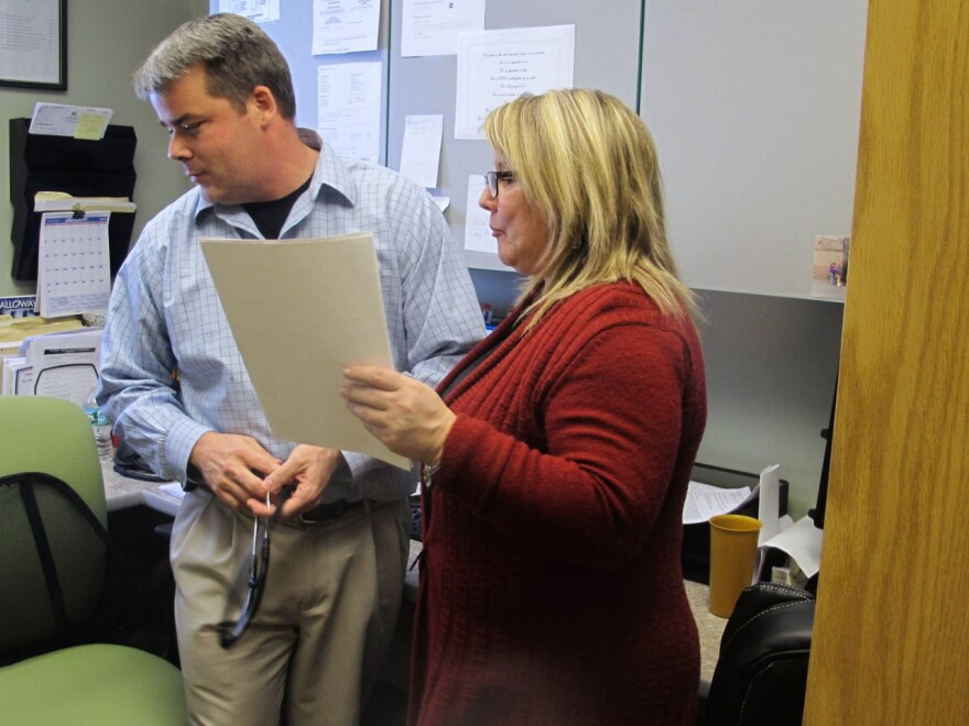 Dr. Craig Smith works with counselor Catherine Bell to provide medication-assisted treatment at North Bridgton Family Practice.