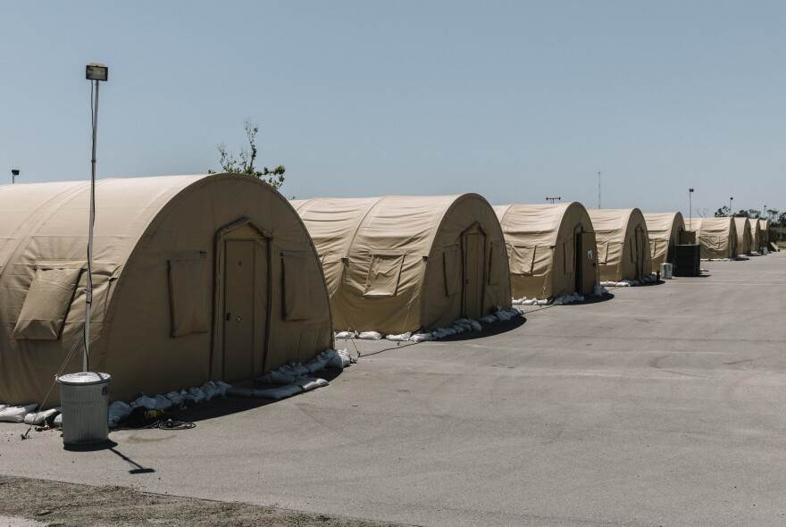 With most of its permanent housing destroyed, Tyndall was forced to house service members in tents erected in the immediate aftermath of Hurricane Michael. But these tents can't withstand heavy winds — personnel were evacuated every time there was a heavy thunderstorm — and can't be used during hurricane season. They're in the process of being dismantled.