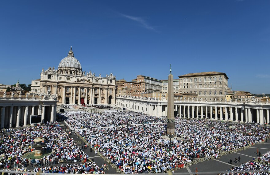 Tens of thousands attend the Holy Mass and canonization of Mother Teresa of Kolkata, in St. Peter's Square at the Vatican on Sunday.