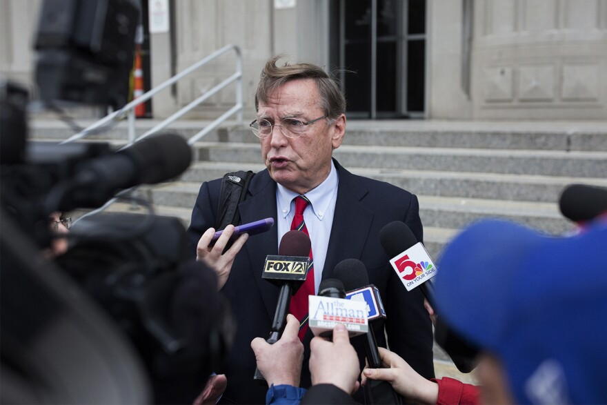 Ed Dowd, defense attorney for Gov. Eric Greitens, speaks to reporters outside the Carnahan Courthouse in downtown St. Louis. March 26, 2018.