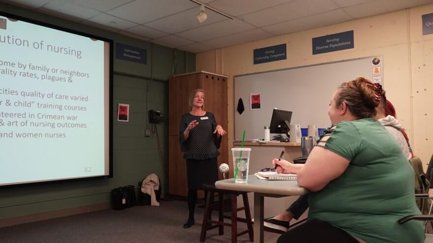 Edith Matesic teaches at orientation