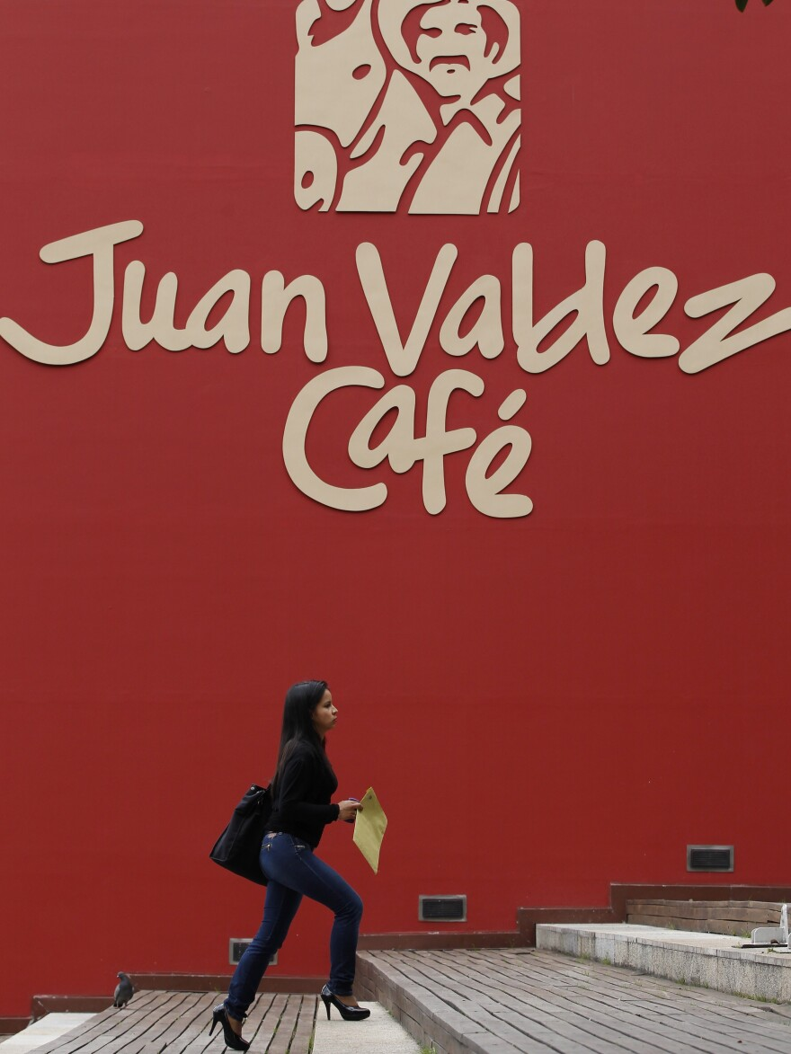 The iconic character Juan Valdez has helped popularize Colombian coffee worldwide.