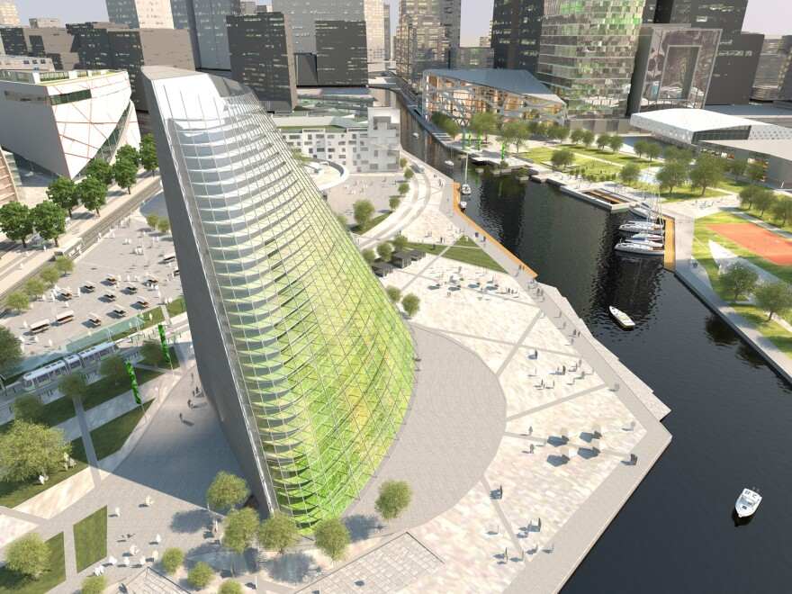 An artist's rendering of what a planned vertical farm in Linkoping, Sweden, will look like.