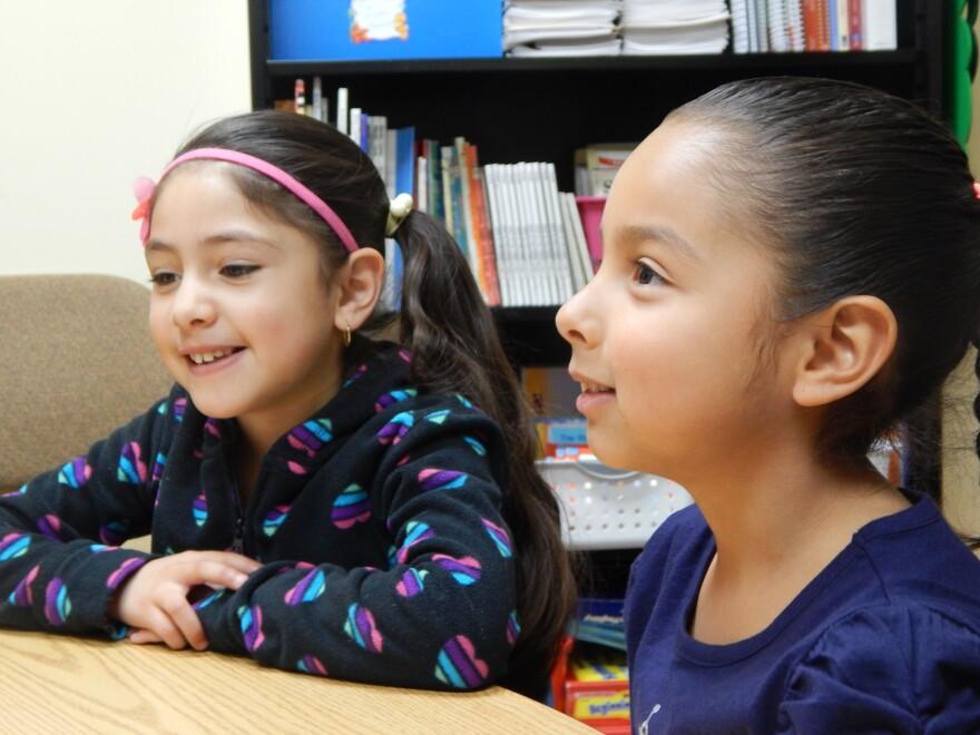 Yocelyn Mendoza-Esparza (left) and Emily Espinoza-Lopez are learning English at Park Layne Elementary School in New Carlisle. tecumseh latino