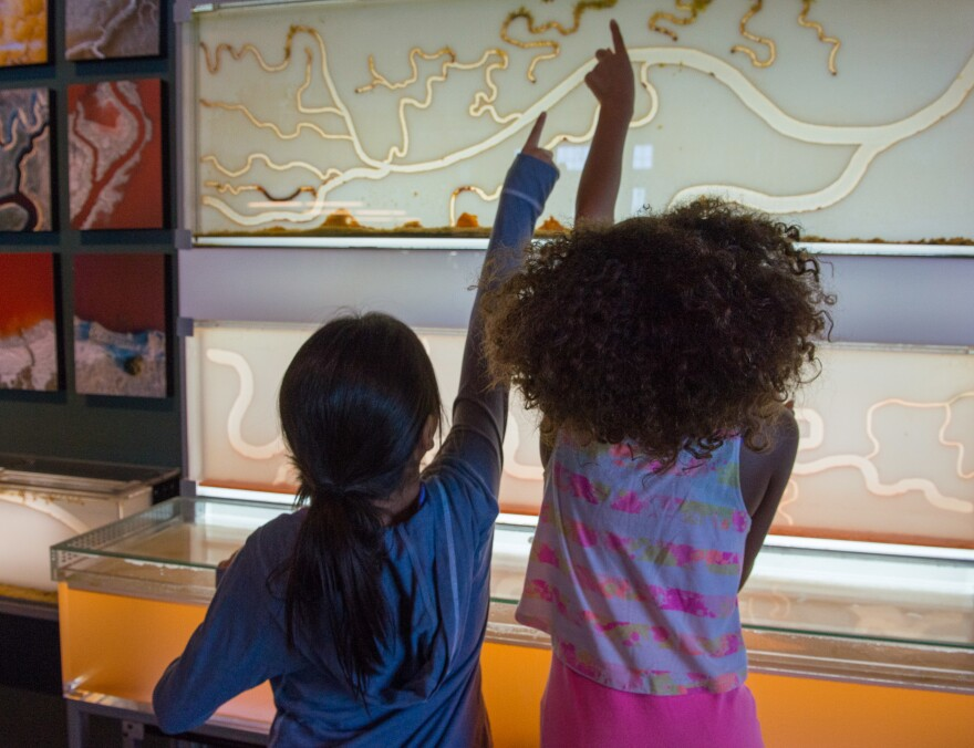 Children examine a salt marsh exhibition at San Francisco's Exploratorium before the coronavirus pandemic.