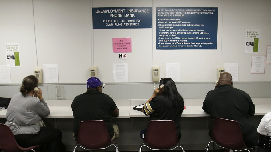 The lines were busy last September at an unemployment insurance phone bank operated by the California Employment Development Department in Sacramento.