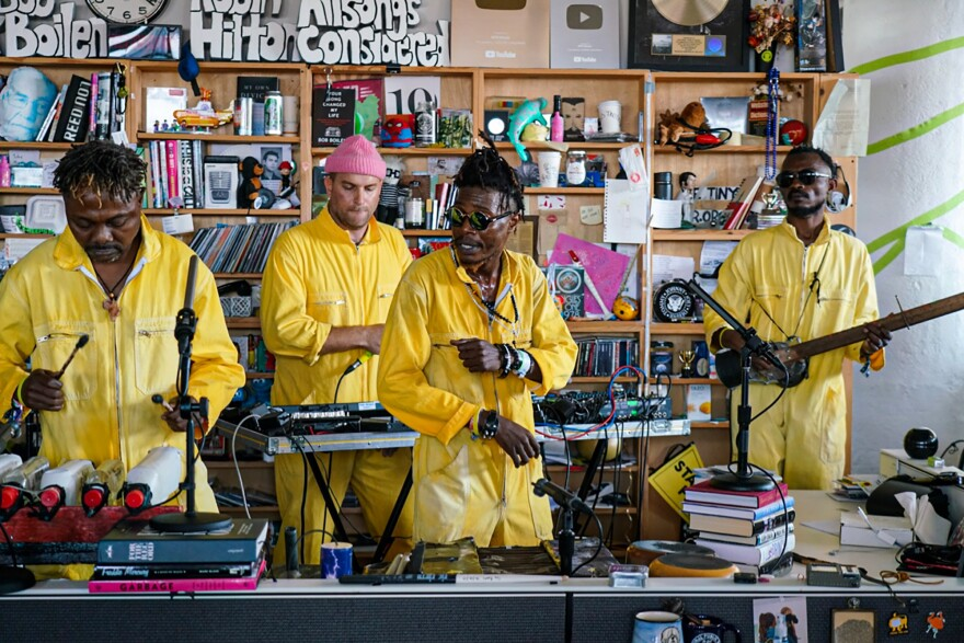 KOKOKO!, a band from the Democratic Republic of Congo, performs at an NPR Tiny Desk Concert that will be posted at a future date.