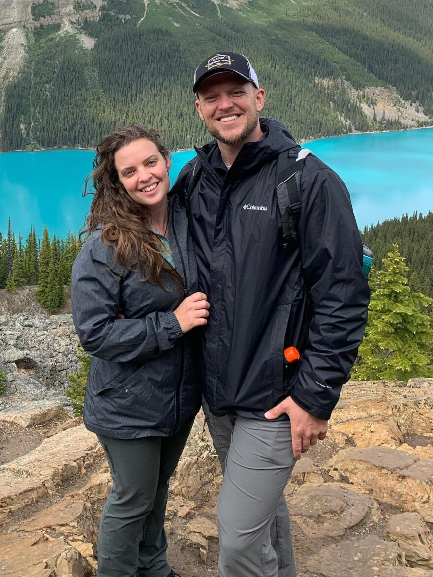 Forest Hensley poses with his wife at Banff National Park in Canada