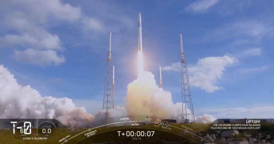 SpaceX's CRS-18 mission launches from Cape Canaveral.