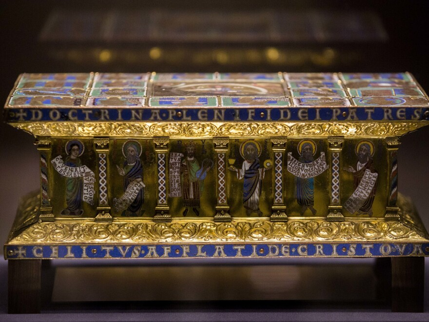 In this picture taken in 2014 the medieval portable altar of Eilbertus a part of the Guelph treasure, is displayed at the Bode Museum in Berlin. The precious collection of medieval Christian art was at the center of a complicated ownership dispute at the U.S. Supreme Court.