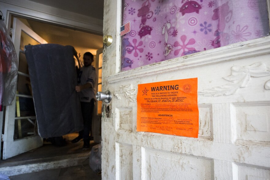 An eviction notice on a door