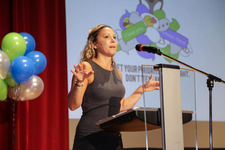 Emily Slosberg speaks to Miami-Dade school students on the dangers of reckless driving. Oct. 20, 2015.