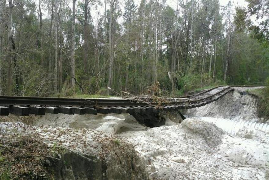 Rail line damage at Camp Lejeune, N.C. has hampered the Marine Corps' ability to ship heavy equipment on and off base and to the nearby port in Morehead City.