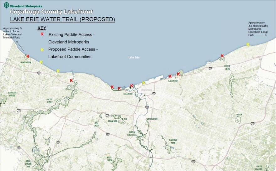 Map of the proposed Lake Erie Water Trail water access points via Cleveland Metro Parks.