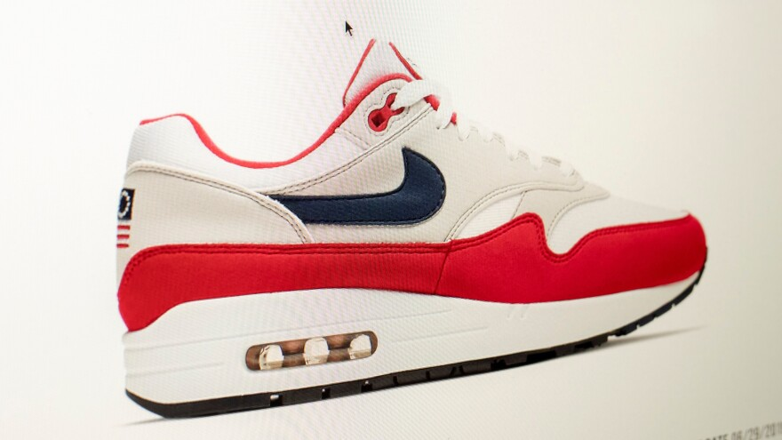 Nike ordered a recall of its new July Fourth-themed Air Max 1 sneakers over concerns about its Betsy Ross flag logo. Prices for the shoes rocketed on the website StockX, as seen on a computer screen Tuesday.