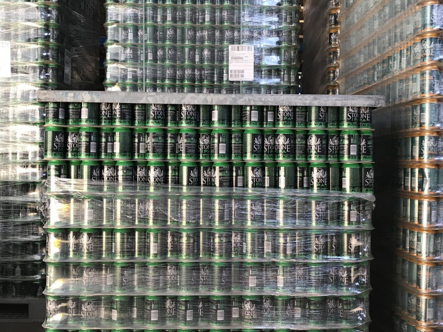 Beer cans packed up and ready to go at Stone Brewing in Berlin. Cans are a daring choice in Germany, where customers prefer to drink beer out of glass bottles.