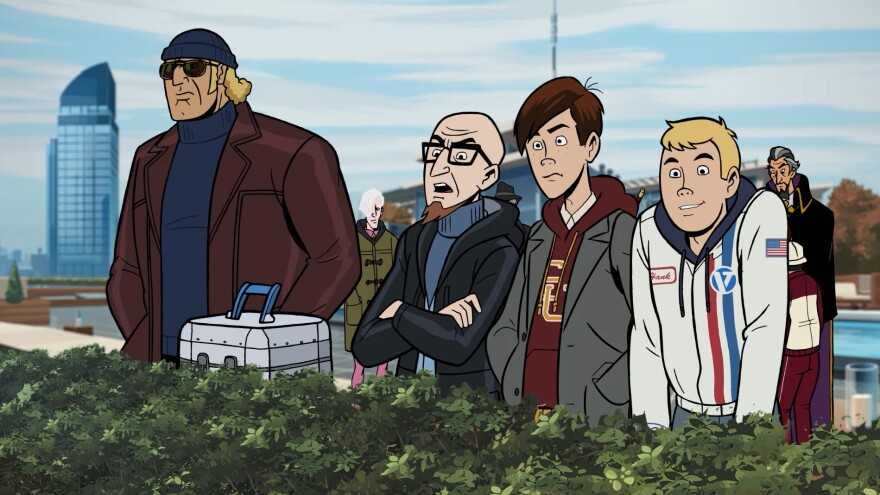 (L to R) From Go, Team Venture! to Gone, Team Venture: Brock, Doc, Dean and Hank, of <em>The Venture Bros</em>.