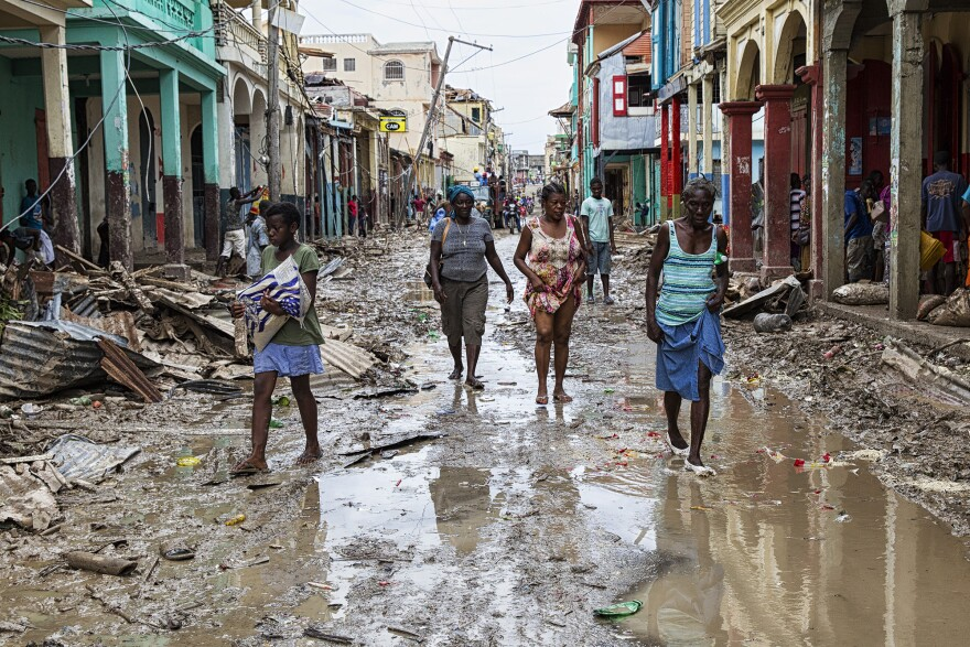 Scene from Les Cayes, Haiti, in the aftermath of Hurricane Matthew.