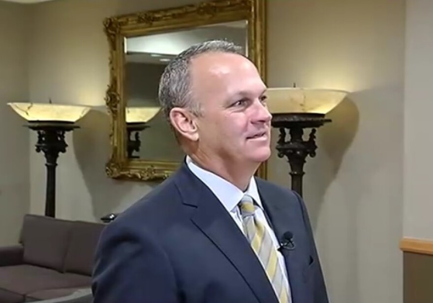 House Speaker Richard Corcoran speaking to reporters in Orlando Tuesday.