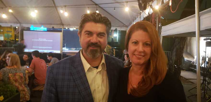 State Rep. Eddie Rodriguez poses with his wife, Christine Garrison, at an Austin Democrats election watch party at Scholz Garten on Tuesday.
