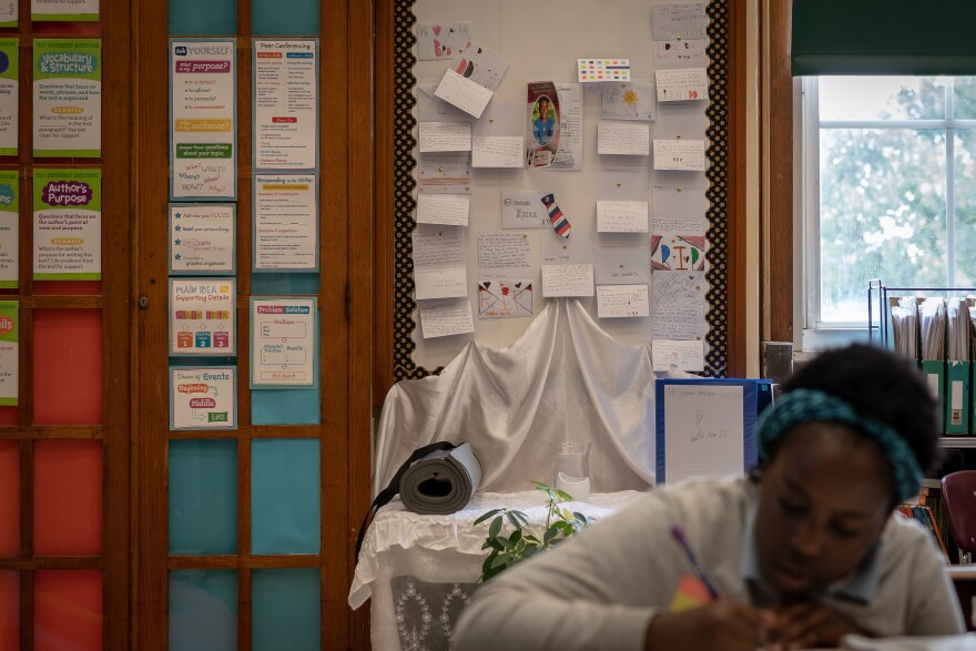 Students at Pamoja Preparatory Academy at Cole have collected notes and possessions of Eddie Hill IV, a former classmate who was killed in a drive by shooting in July. Aug. 30, 2019.
