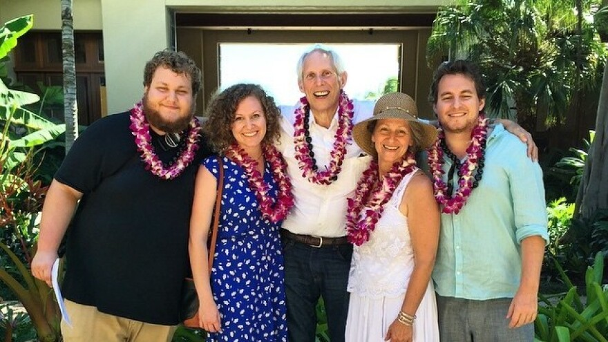 """The Schwimmers — from left, Scott, Caitlyn, Robert, Cynthia and Jon — have grappled with Robert's fatal diagnosis, and his desire to hasten death if he's in agonizing pain or his quality of life sharply declines. """"I'm not interested in sleeping 18 hours a day and the other six in a rocking chair,"""" Robert says."""