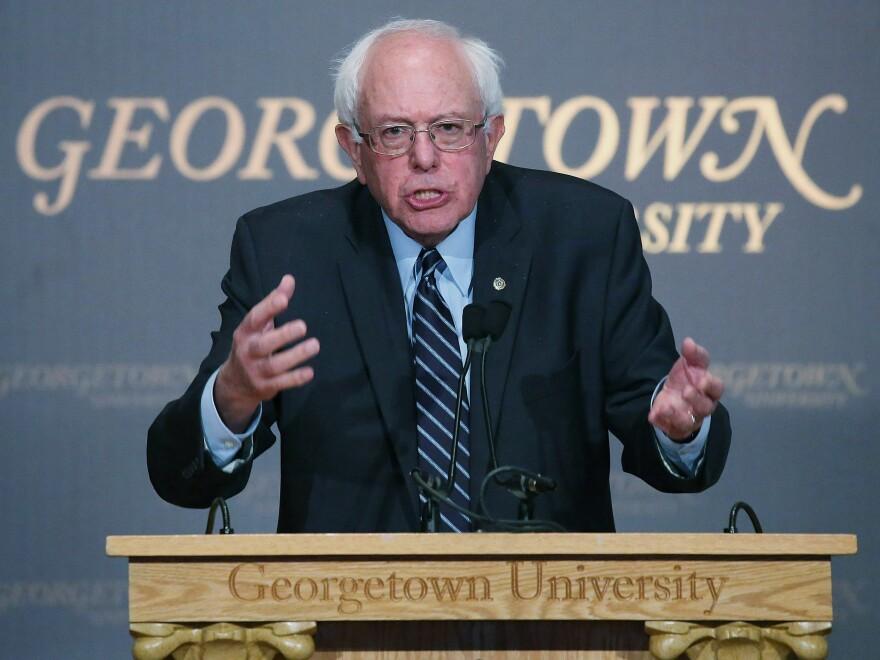 Sen. Bernie Sanders speaks about Democratic socialism at Georgetown University Thursday.