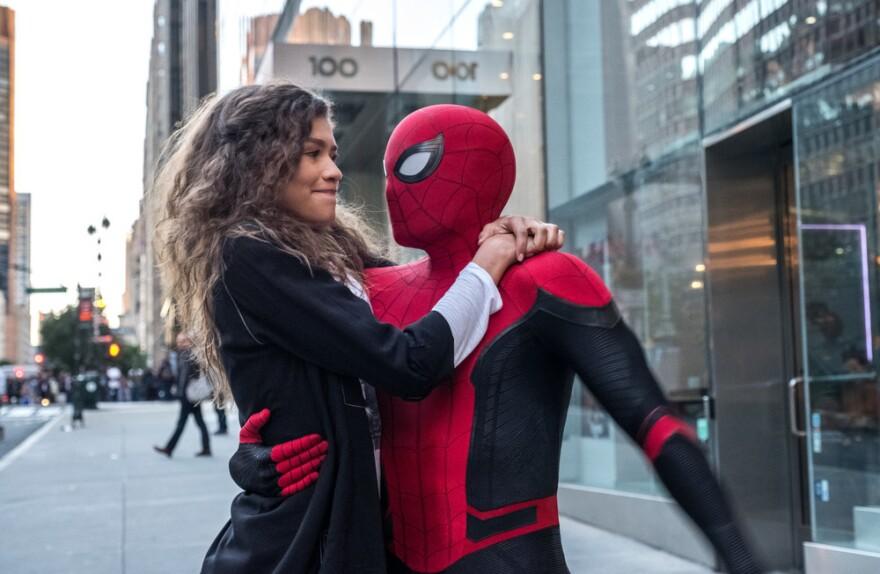 Michelle (Zendaya) catches a ride from Spider-Man in <em>Spider-Man: Far From Home</em>.