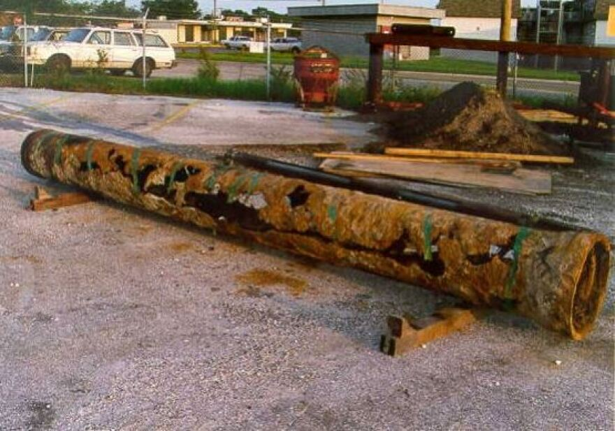 A rusted out wastewater pipe